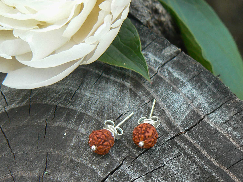Genuine Small 5 Panch Mukhi Seed Bead HANDMADE item Sterling Silver Rudraksha Stud Earrings