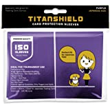 TitanShield (150 Sleeve,Purple Small Japanese Sized Trading Card Sleeves Deck Protector for Yu-Gi-Oh, Cardfight!! Vanguard &