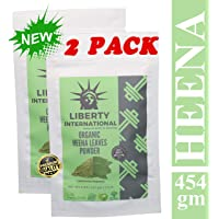 Liberty International 100% Organic Natural Henna Leaves Powder (Lawsonia Inermis) for Silky Smooth Hair Herbal (454g) (2 x 227 gm Each) (Combo Pack of 2 piece) NK233