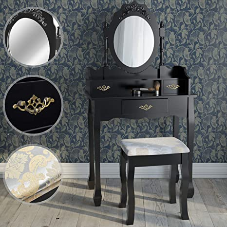 d40fc47fd1 Dressing Table | with 3 Drawers, Adjustable Oval Mirror, Stool, in Baroque  Style
