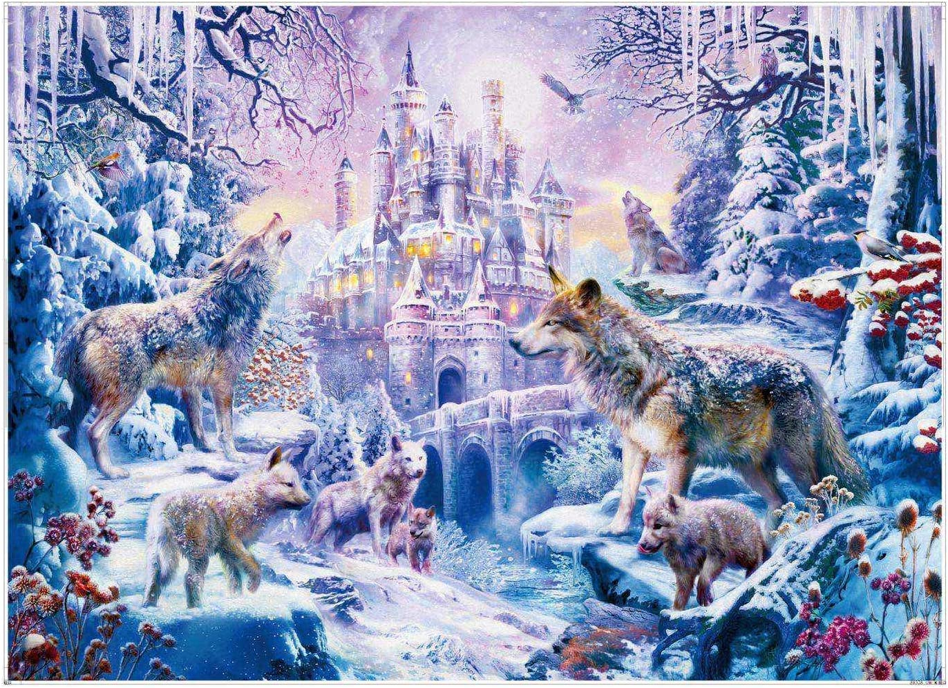 Cardboard Puzzles Floor Puzzle 70 x 50 cm iLink 1000 Piece Jigsaw Puzzle Wolf Castle Relax Puzzles Games-Brain Teaser Puzzle- for Adults and Teens Gifts