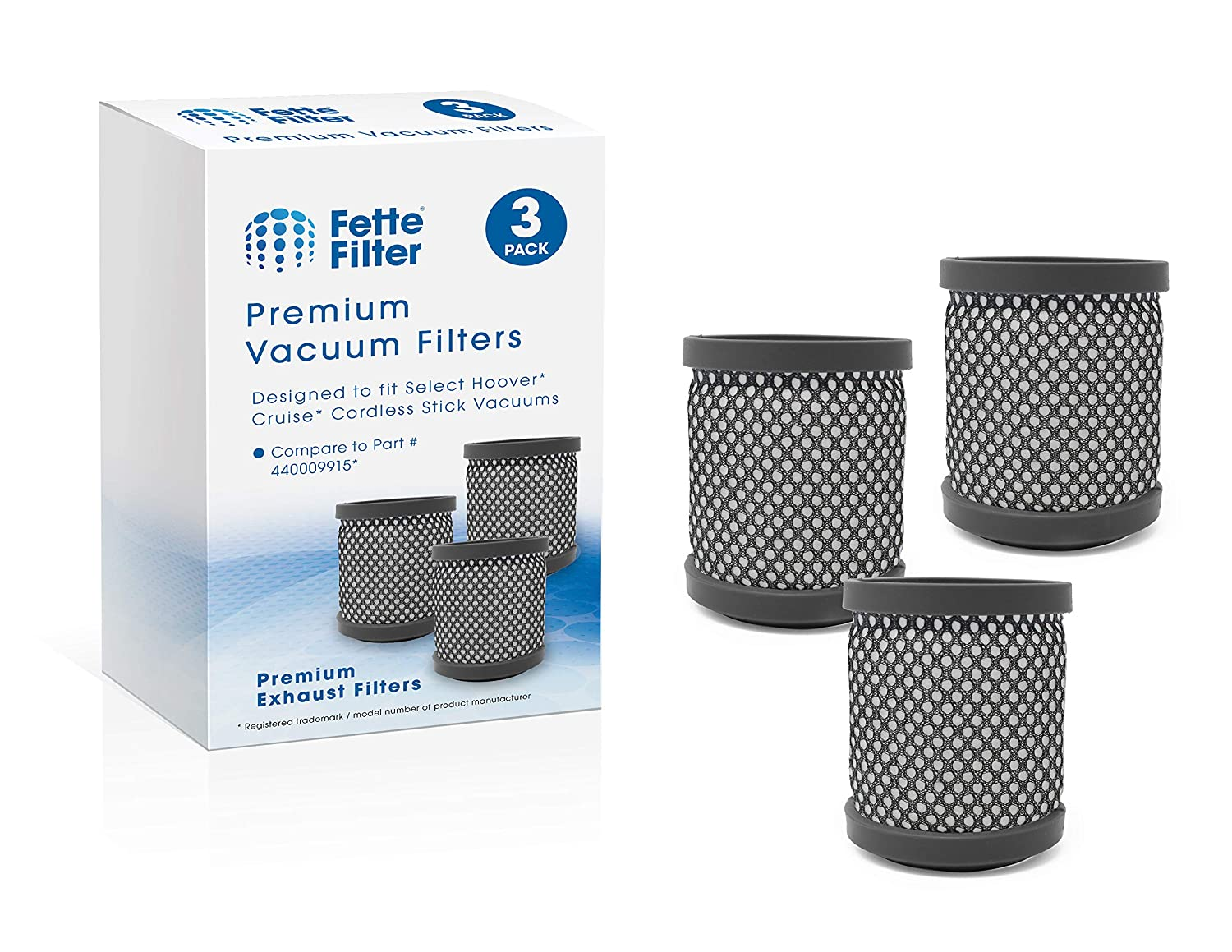 Pack of 3 BH52212 BH52200 BH52210PC Fette Filter Vacuums Filter Compatible for Hoover Cruise Cordless Ultra-Light Stick BH52210 Compare to Part # 440009915