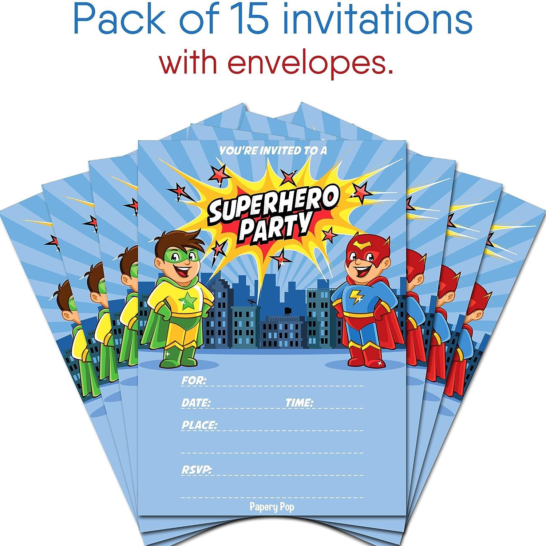 Superhero Birthday Invitations With Envelopes 15 Count