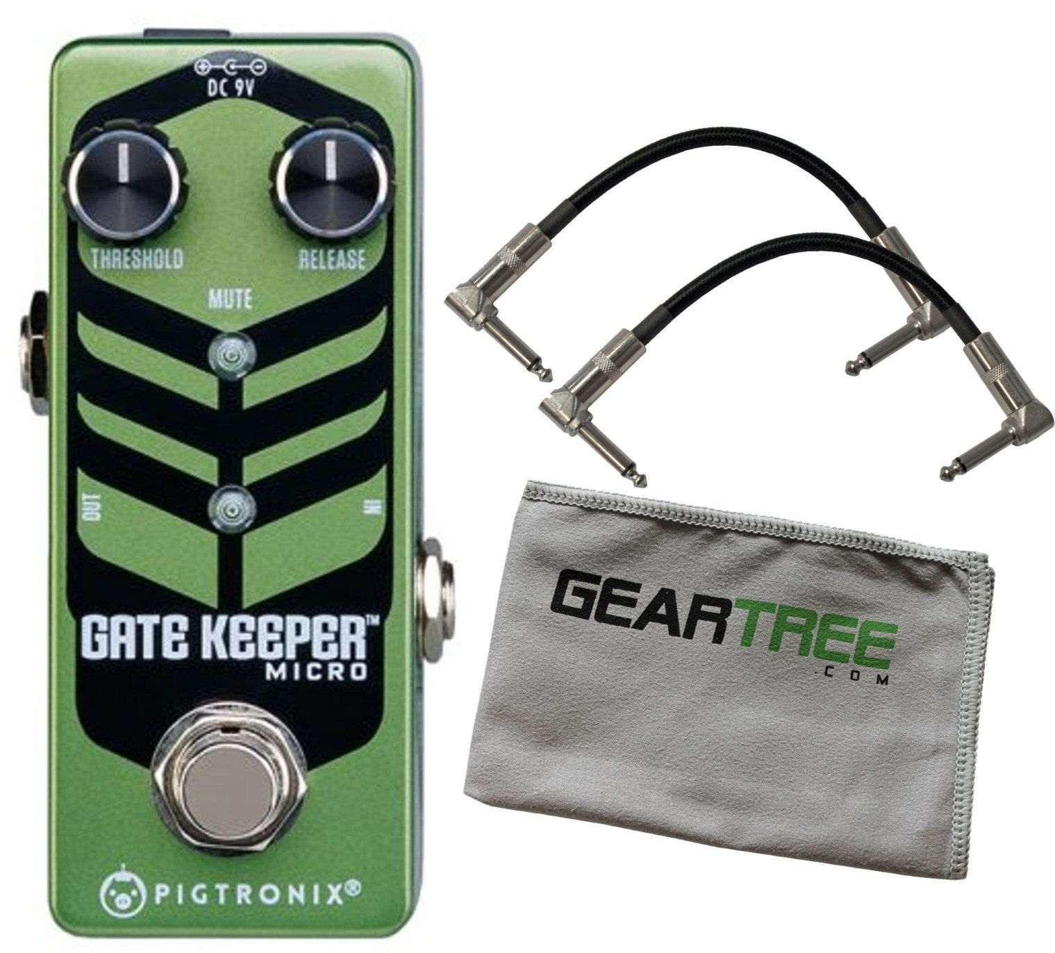 Pigtronix GKM Gatekeeper Micro Noise Gate Pedal Bundle w/ 2 Cables and Cloth by Pigtronix