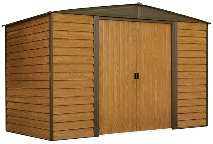 Review Arrow Woodridge Low Gable Steel Storage Shed, Coffee/Woodgrain 10 x 6 ft.