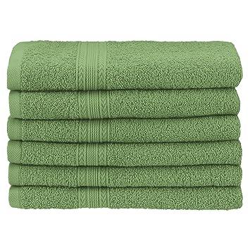 Superior - Juego de Toallas de Lavabo ecológicamente puras, de algodón, Color Verde Terrace, 40,6 x 76,2 cm, 6 Piezas: Amazon.es: Hogar