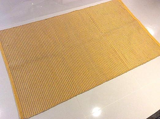 Cotton-trader Alfombra de Yute Natural y algodón Reciclado a Rayas, Lavable, 90 x 150 cm, ecológica, Color Amarillo Mostaza: Amazon.es: Hogar