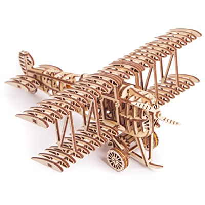 Wood Trick Bi-Plane Toy Kit, Wooden Toy Plane - Mechanical Model Plane Mini - 3D Wooden Puzzle, Assembly Model - STEM Toys for Boys and Girls - 3D Plane: Toys & Games