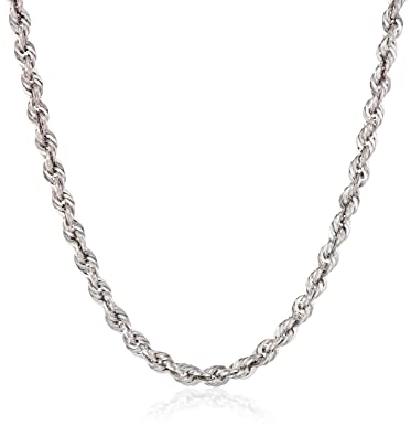 Amazoncom 14k White Gold Rope Chain Necklace 18 White Gold Rope