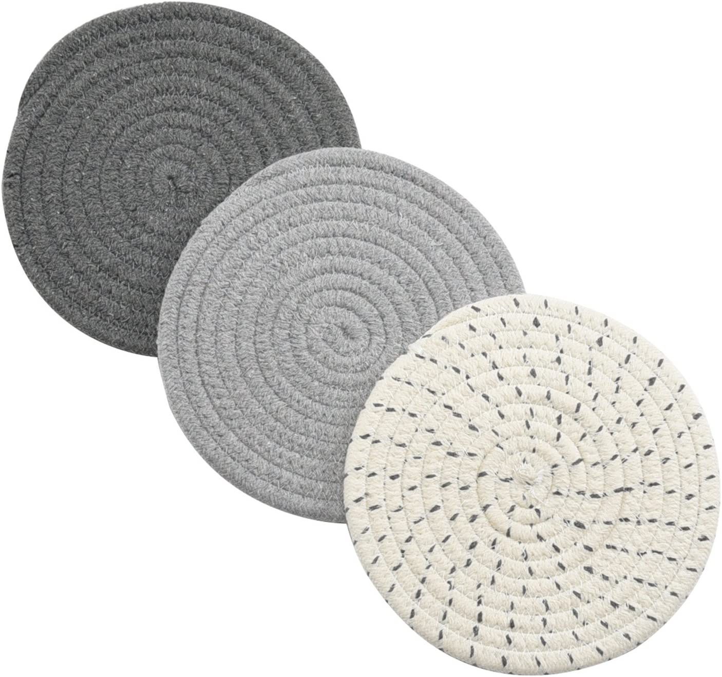 Potholders Set Trivets Set 100% Pure Cotton Thread Weave Hot Pot Holders Set (Set of 3) Stylish Coasters, Hot Pads, Hot Mats, Spoon Rest For Cooking and Baking by Diameter 7 Inches (Gray): Kitchen & Dining