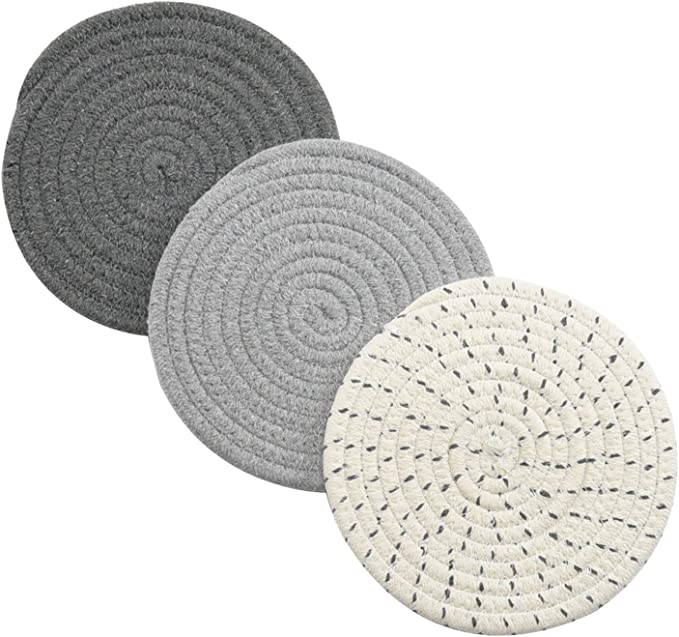 Amazon.com: Potholders Set Trivets Set 100% Pure Cotton Thread Weave Hot Pot Holders Set (Set of 3) Stylish Coasters, Hot Pads, Hot Mats, Spoon Rest For Cooking and Baking by Diameter 7 Inches (Gray): Kitchen & Dining