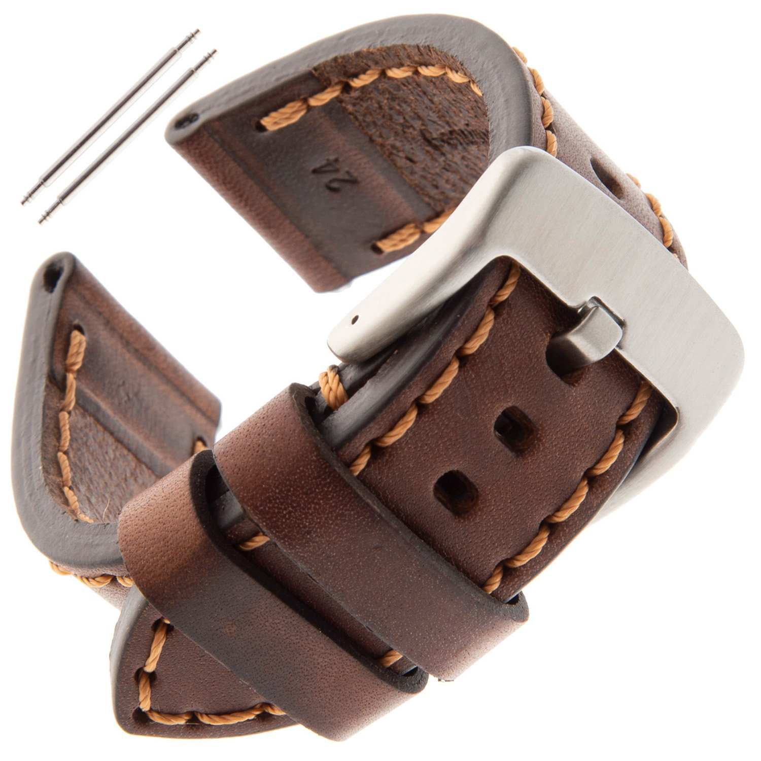 Gilden 22-26mm Gents Thick and Heavy Sport Calfskin Leather Watch Strap TS62-1522 (22 Millimeter end Width, Brown)