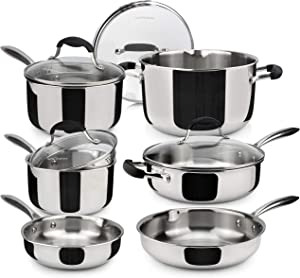 AVACRAFT 18/10 Stainless Steel Premium Multiclad Pots and Pans Set, Stainless Steel Cookware Set, Tri-Ply Body Stainless Steel Pan Set, 10-Piece Set