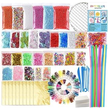FEPITO 84 Pcs Slime Kit incluyendo Bolas espuma, Bolas pecera, Red, Cáscara,