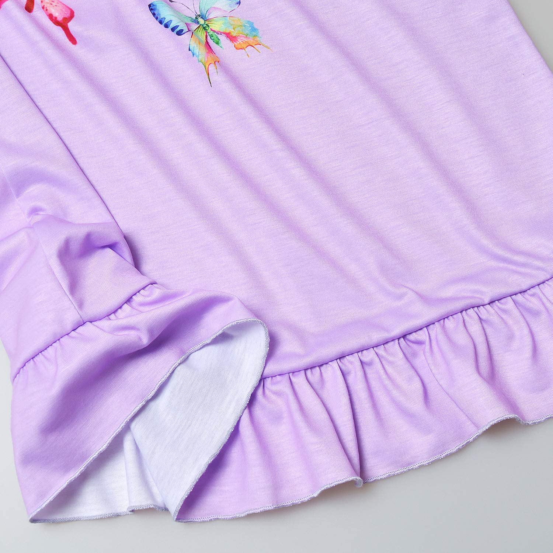 Perfashion Unicorn Nightgowns for Girls Summer Cotton Ruffle Cute Soft PJS Dress