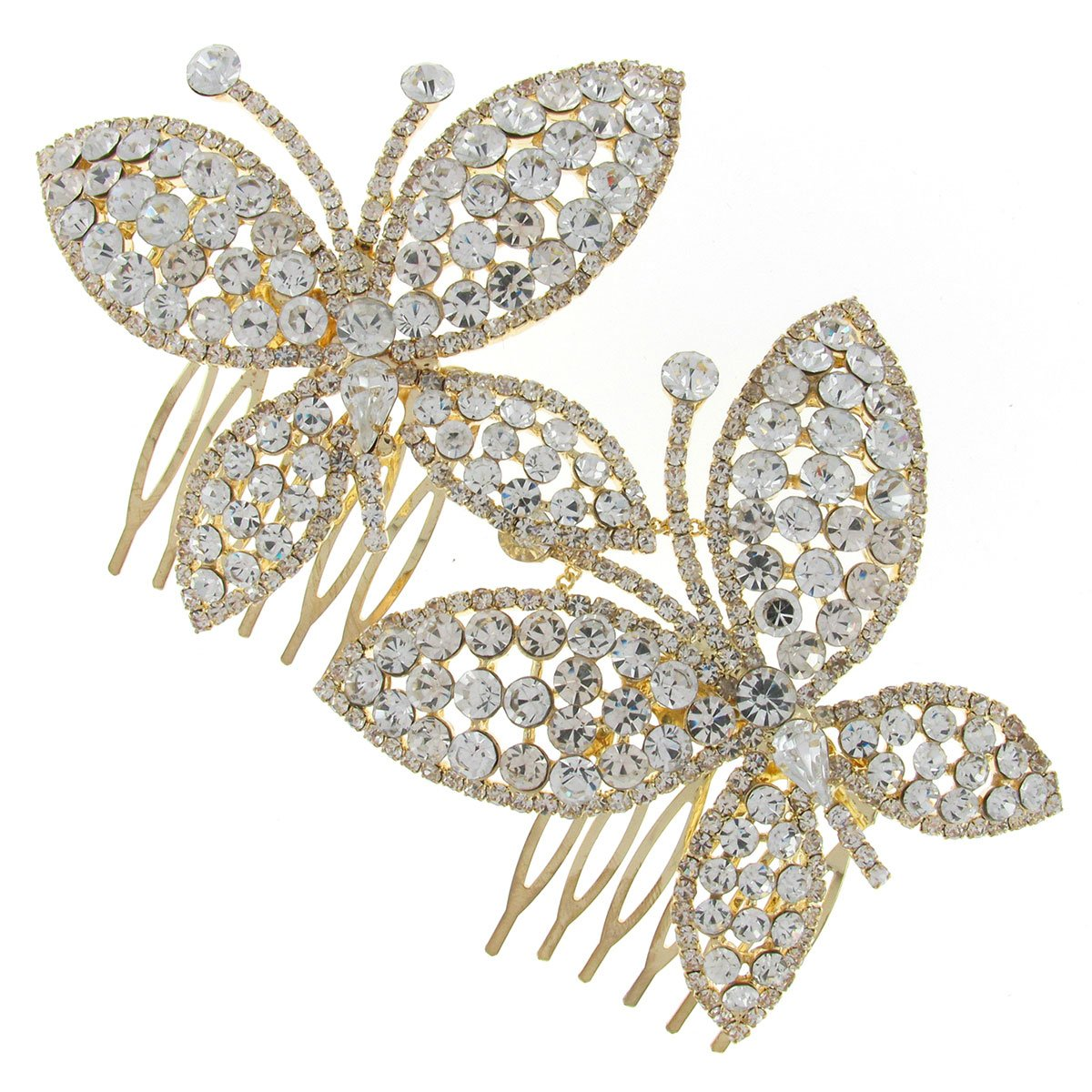 ee09f12e5 Vintage Double Butterfly Swarovski Crystal Gold Bridal Hair Comb Clip:  Amazon.co.uk: Jewellery