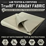TitanRF Faraday Fabric. Military Grade Certified Material Blocks RF Signals (WiFi, Cell, Bluetooth, RFID, EMF Radiation Shielding). 44in W x 36in L (11sq ft) + Includes 12in L Conductive Tape.