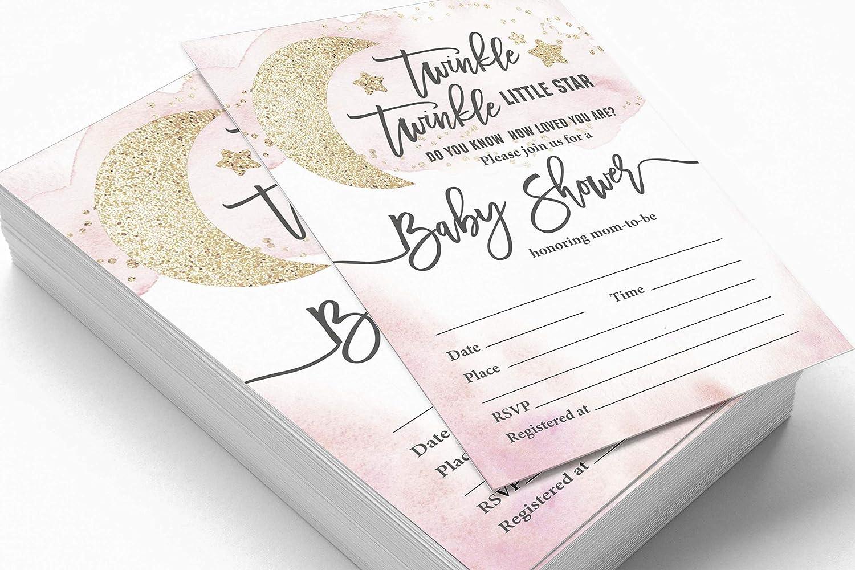 Inkdotpot 30/Gender Reveal Baby Shower Invitation Cards Twinkle Twinkle Little Star Fill in Blank Invites