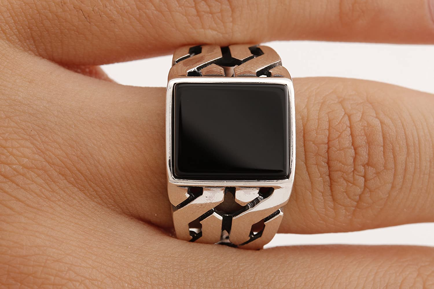 Turkish Style Handmade Jewelry Rectangle Black Onyx 925 Sterling Silver Mens Ring Size Option