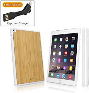 iPad Air 2 Case, BoxWave [True Bamboo Minimus Case with Bonus Keychain Charger] Hand Made, Real Wood Cover for Apple iPad Air 2 - Winter White
