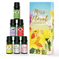 ASAKUKI Floral Essential Oil Set, Top 6 Natural 100% Pure Aromatherapy Oils for Oil Diffusers, Jasmine, Ylang Ylang…