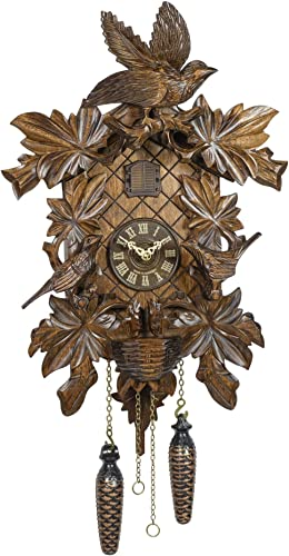 Trenkle Quartz Cuckoo Clock 6 Leaves, 3 brids, nest
