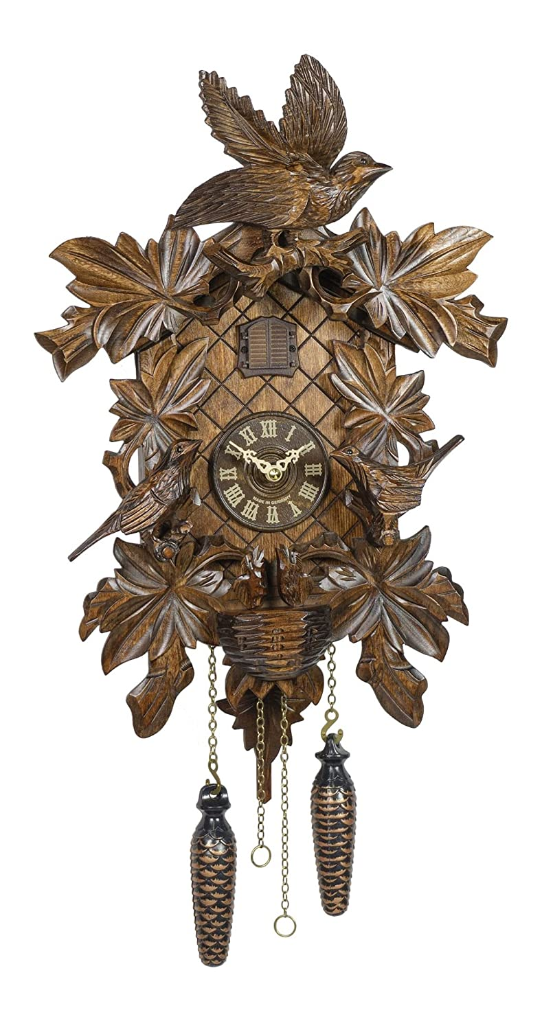 Trenkle Quartz Cuckoo Clock 6 leaves, 3 brids, nest Item No.: 54-TR