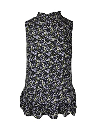 9512666021fa2 Next Ladies Petite Navy/Blue Ditsy Floral Print Blouse HIGH Ruffle Neck TOP  6-16: Amazon.co.uk: Clothing