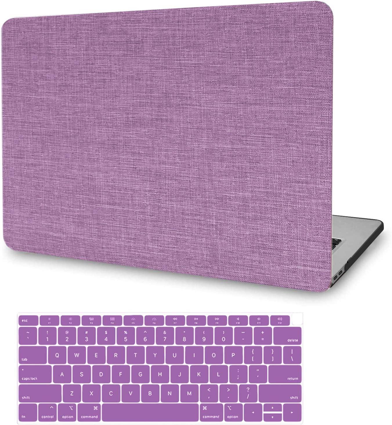 MacBook Pro 13 Inch Case 2019 2018 2017 2016 Release A2159/A1989/A1706/A1708, JGOO Fabric Plastic Hard Shell Case with Keyboard Cover for Apple MacBook Pro 13 with/Without Touch Bar, Purple