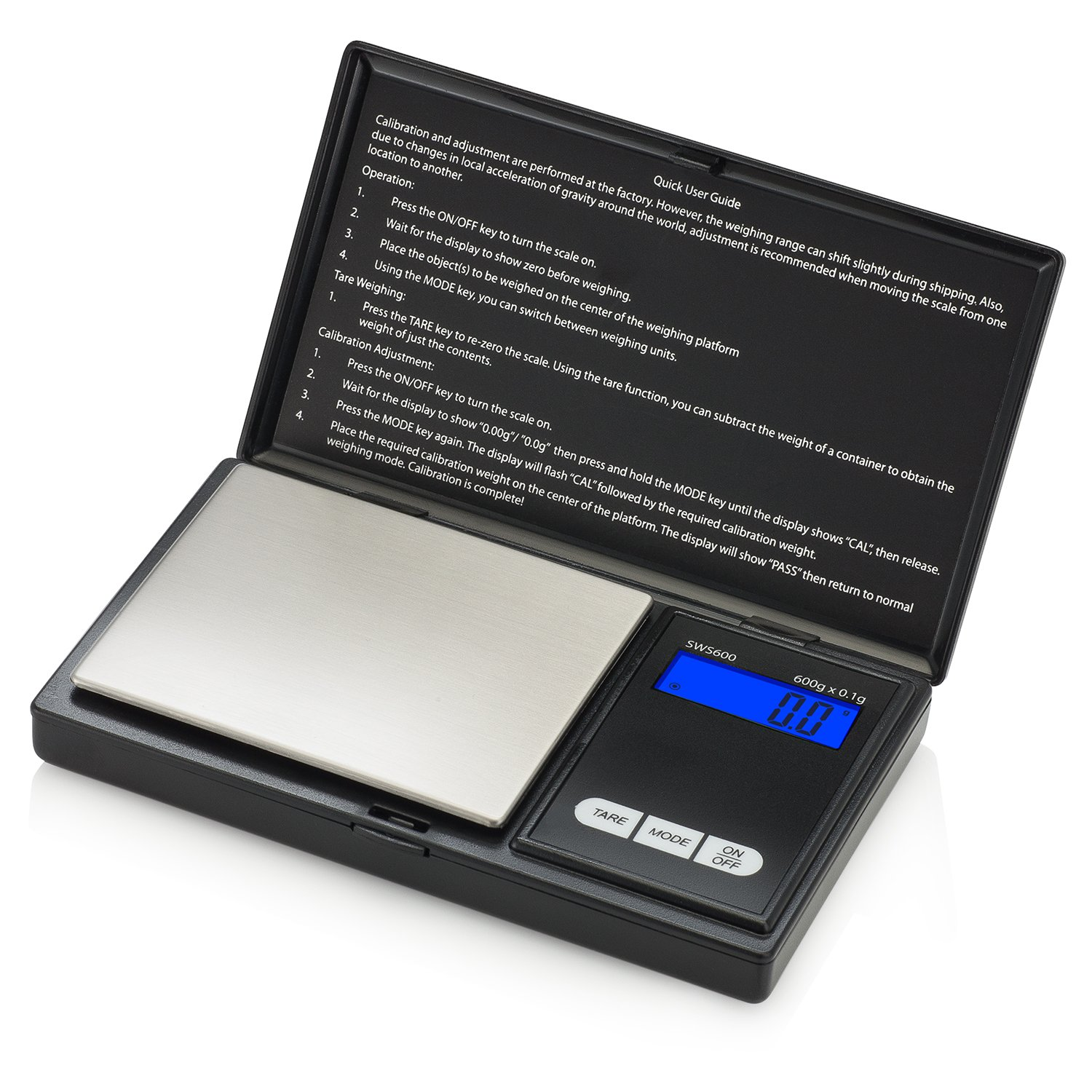 Smart Weigh Digital Pocket Gram Scale 600g x 0.1 Grams, Food Scale, Jewelry Scale, Kitchen Scale, Small Portable Digital Scale Grams and Ounces, Battery Included