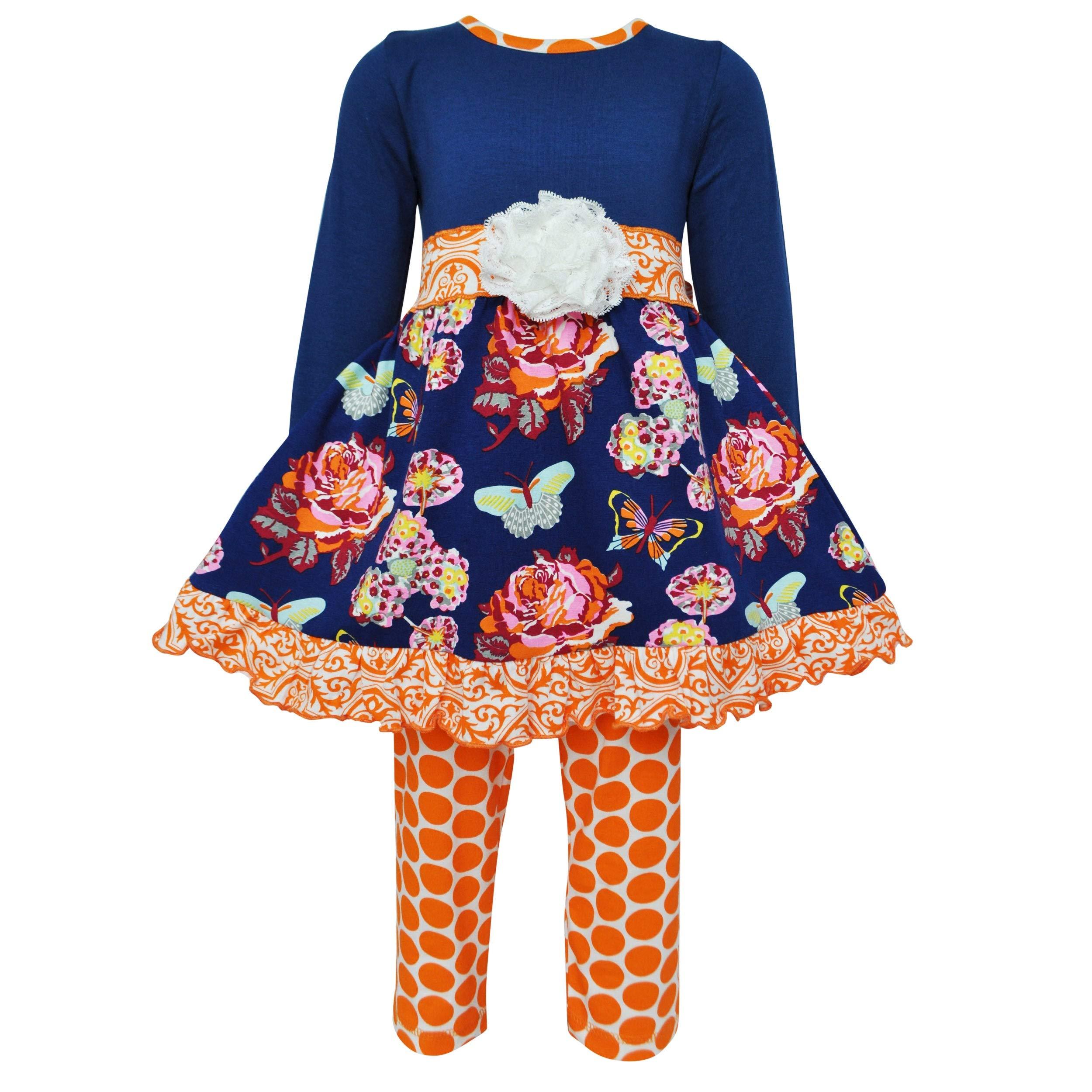 AnnLoren Girls Boutique Cotton Spandex Floral Dress & Pants Holiday Outfit (7/8, Blue/Orange) by AnnLoren