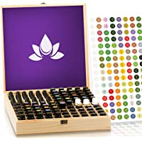 Essential Oil Storage Box - Holds 87 Bottles - Largest Wooden Case Available - Store 5-15ml & roller bottles - Sturdy Construction, Present and Organize, Fits doTERRA, Young Living, Plant Therapy Oils by Aroma Outfitters