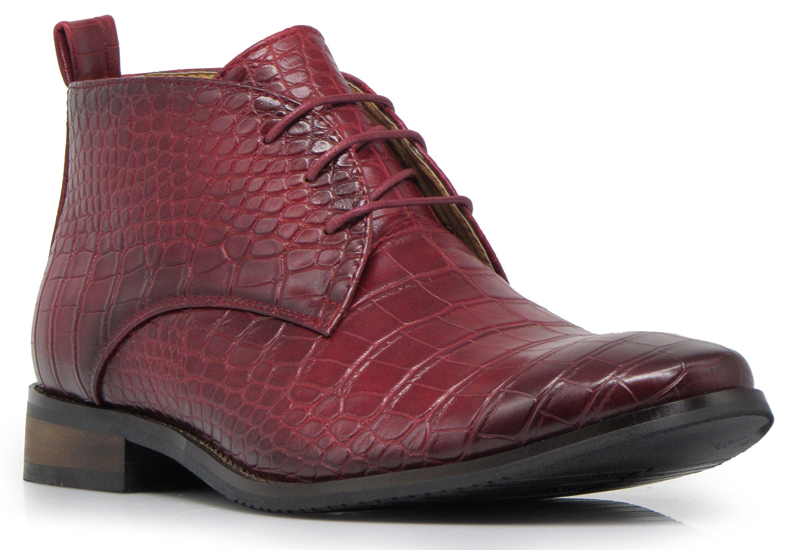 Enzo Romeo DF2 Men's Dress Boots Alligator Crocodile Print Chelsea Chukka Ankle Lace up Fashion Short Boots (9.5 D(M) US, Burgundy)