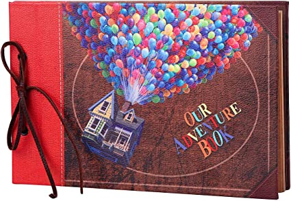 Leather Cover with Balloon House 30 Sheets // 60 Pages 11.6 x 7.5 inch LINKEDWIN Our Adventure Book Scrapbooking Album with Retro Craft Paper