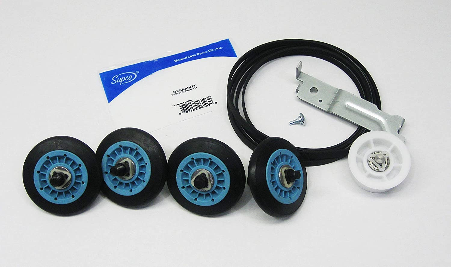 Supco DESAMKIT Dryer Repair Kit For Samsung   Includes (4) DC97-16782A Dryer Support Rollers, (1) DC93-00634A Idler Arm and (1) 6602-001655 Belt