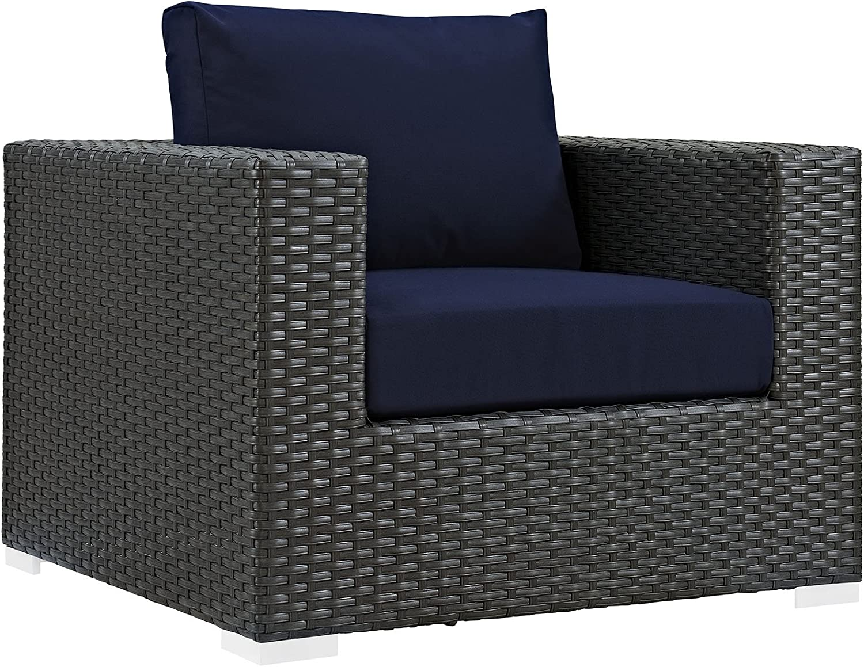 Modway Sojourn Wicker Rattan Outdoor Patio Sunbrella Fabric Armchair in Canvas Navy