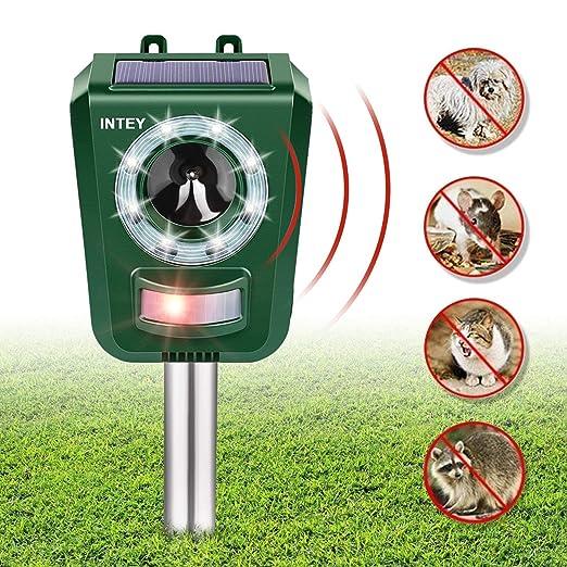 INTEY Repelente de Gatos, Ultrasónico Ahuyentador Gatos, Carga Solar, Resistente al Agua, para Gatos, Perros, Ratones, Zorros, Pájaros, para Exterior