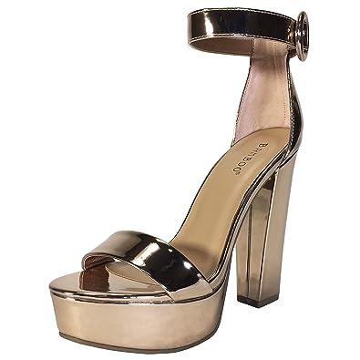 Amazon.com   Bamboo Women's Chunky Heel Platform Sandal With Ankle ...