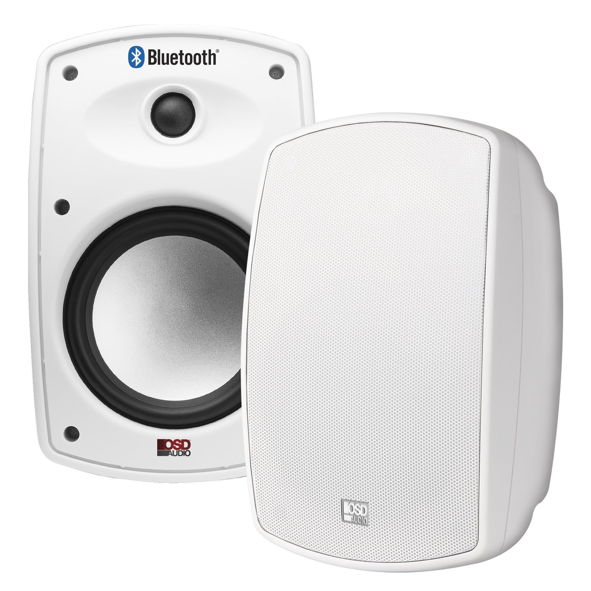 BTP650 Bluetooth High Definition 2-Way 6.5-Inch Water-Proof Power Supply IP67 Composite Resin Low Resonator Cabinet Outdoor Weather Resistant Patio Speaker - OSD Audio (Pair, White)