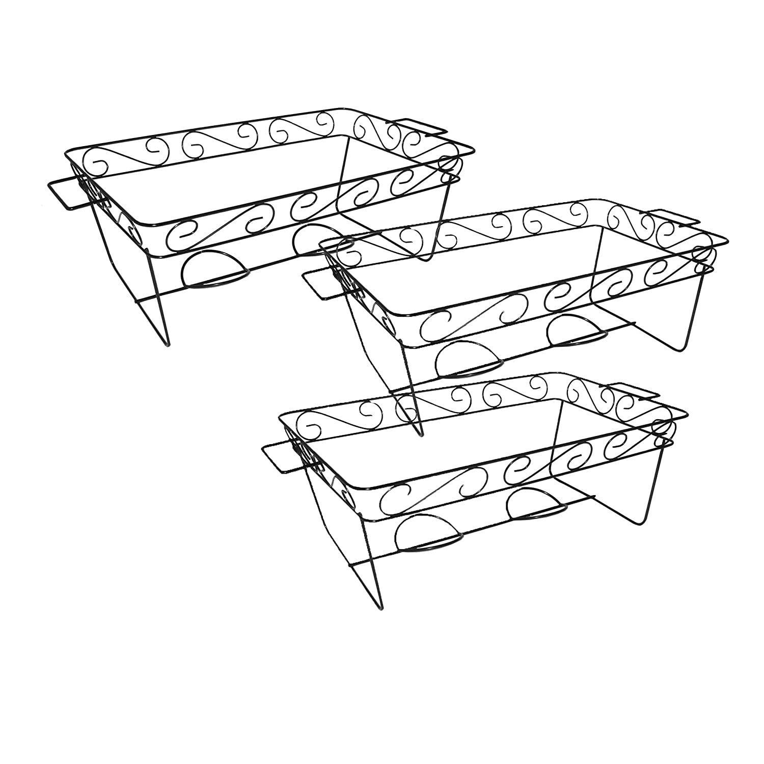 Party Essentials 3-Count Full Size Elegance Chafing Racks, Black (2-(Pack))
