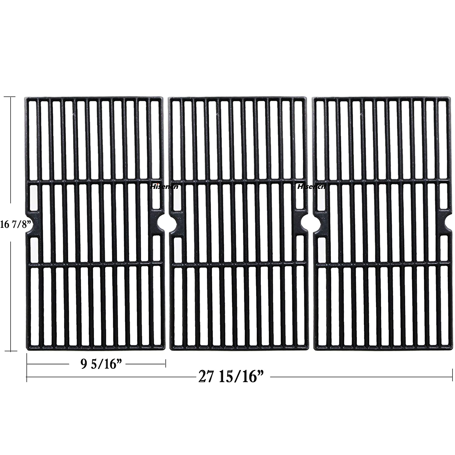 bbq factory JGX763 Replacement Cast Iron Cooking Grid Porcelain coated Set of 3 for Select Gas Grill Models By Charbroil, Kenmore, Master Chef and Others bbq factory® H6038763CG