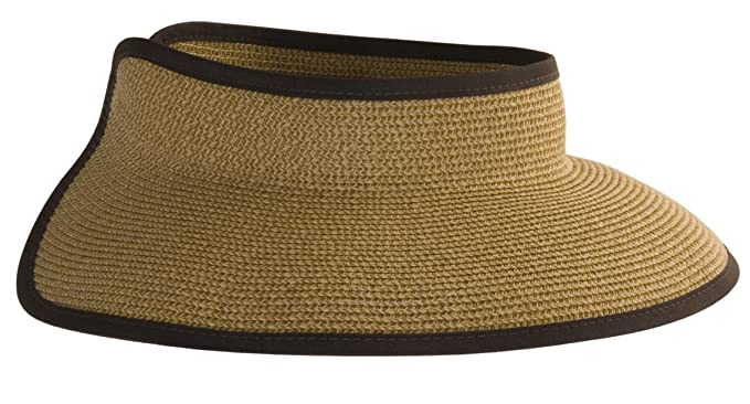 d14db1b0bd856 Karen Keith Paper Braid Wide Brim Roll Up Sun Visor Hat - Mocha Tweed