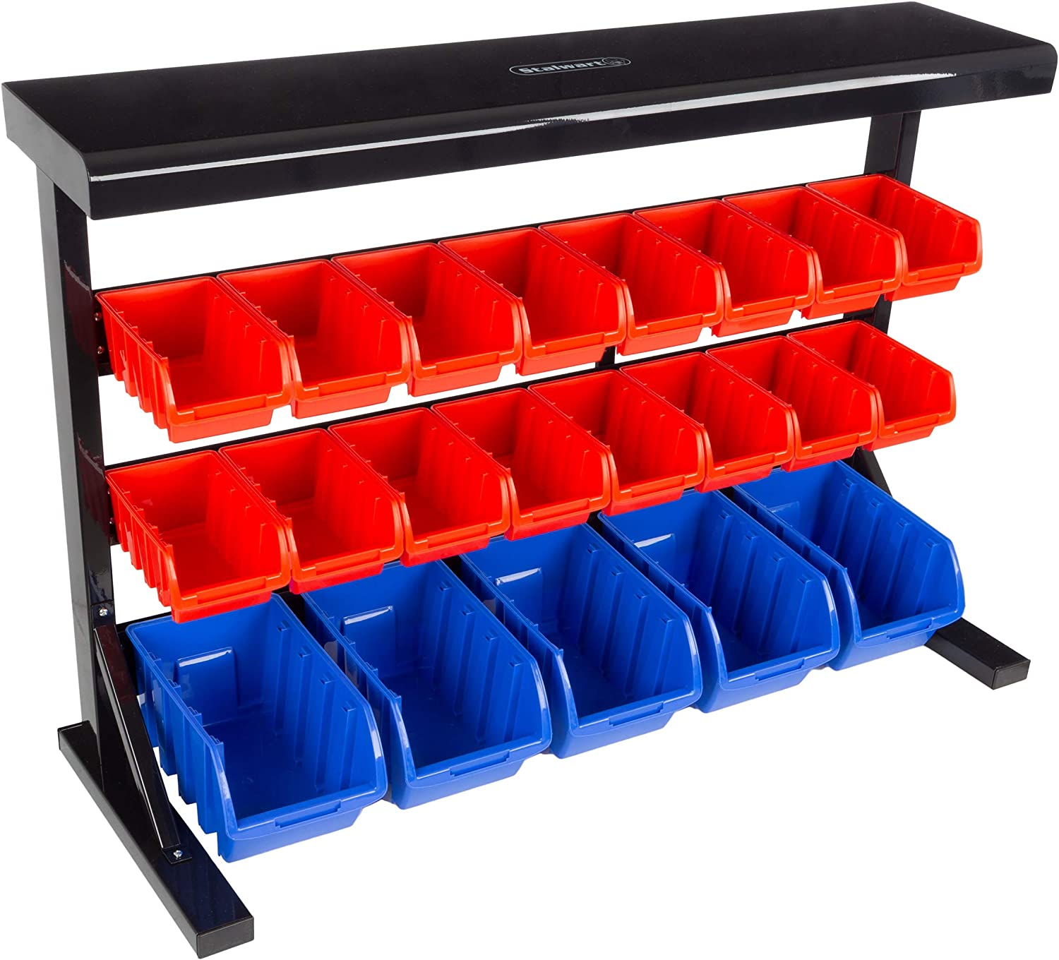21 Bin Storage Rack Organizer- Wall Mountable Container with Removeable Bins for Tools, Hardware, Crafts, Office Supplies and More by Stalwart
