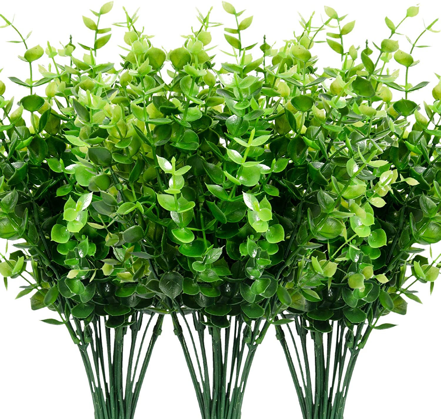 9 Bundles Fake Plants Artificial Boxwood Greenery 63 Stems Fade Resistant Faux Plastic Plants for Garden Farmhouse Porch Patio Window Box Wedding Office Home Indoor Outdoor Decor