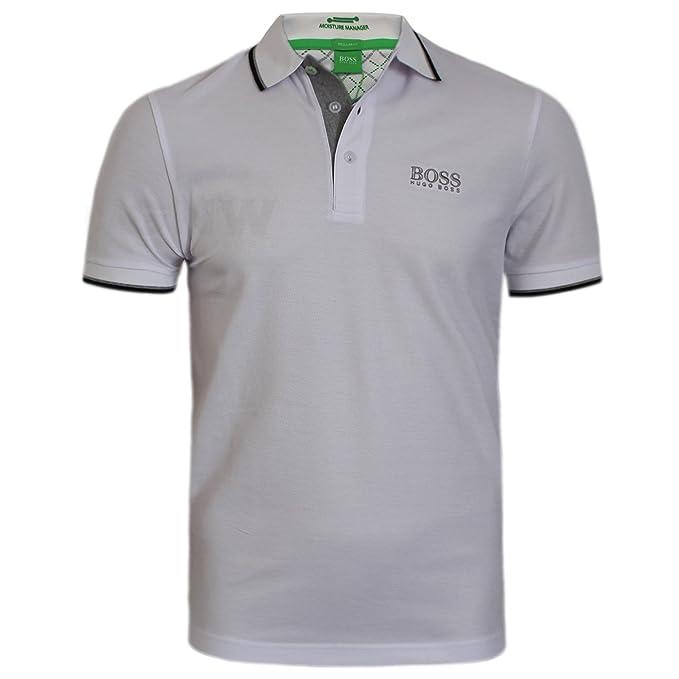 Hugo Boss Hombre Blanco Peppo Golf Pro Polo Camiseta 10103386: Amazon.es: Ropa y accesorios