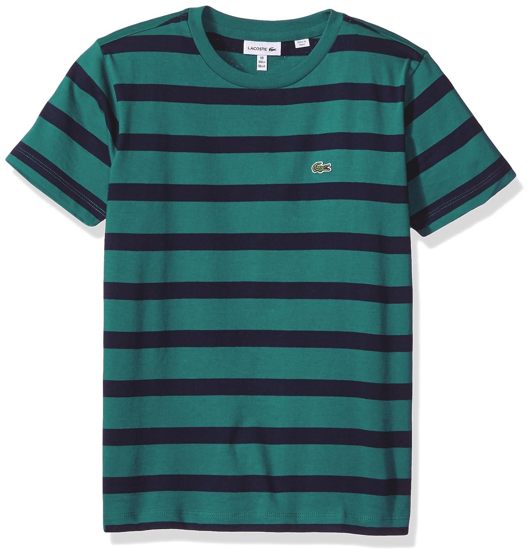 a4ca9e553 Amazon.com: Lacoste Boy Short Sleeve Heather Stripe Crew Neck T-Shirt:  Clothing