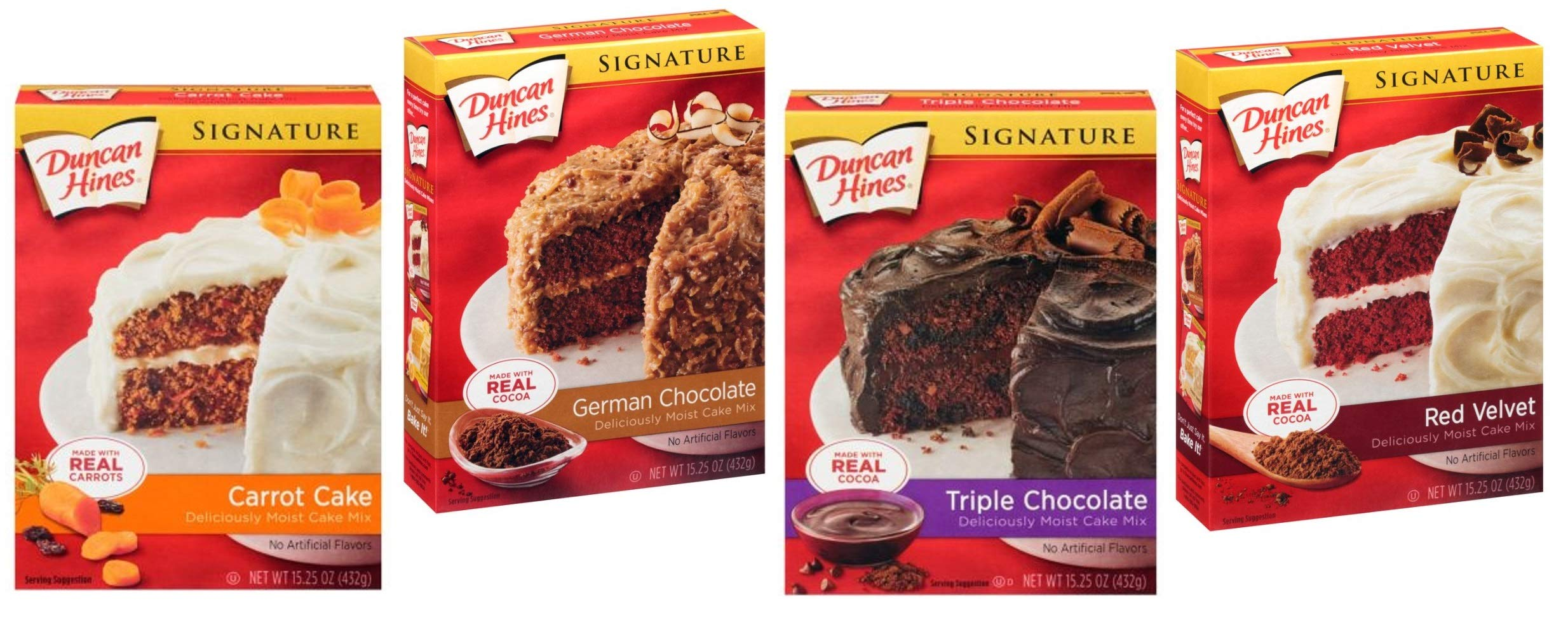 Duncan Hines Signature Cake Mix Variety 4 Pack Bundle - German Chocolate, Triple Chocolate, Classic Carrot Cake Mix, Red Velvet by Duncan Hines