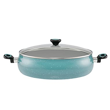 Paula Deen Riverbend Aluminum Nonstick Covered Family Gathering Pan / Large Jumbo Cooker, 10-Quart, 13.75-Inch, Gulf Blue Speckle
