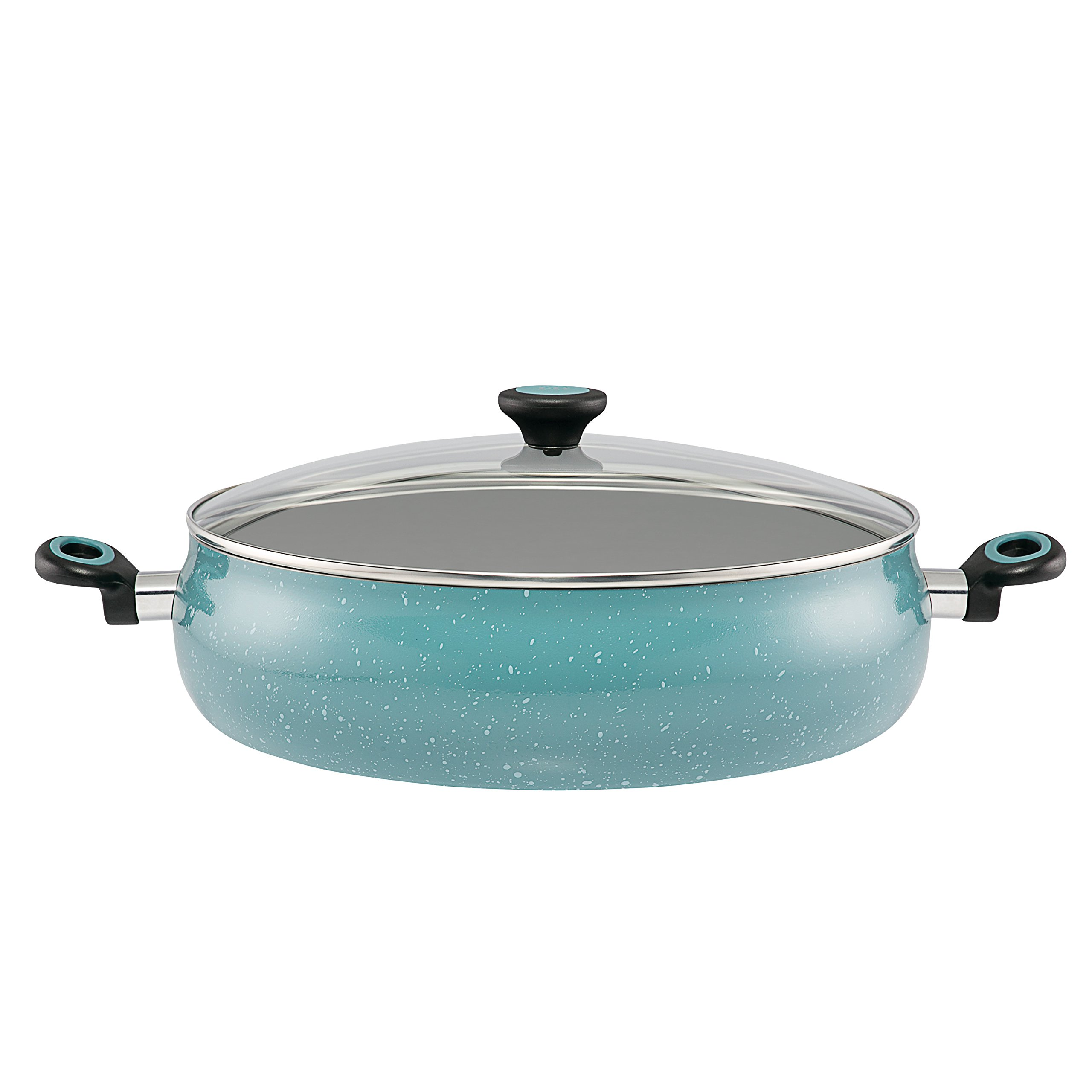 Paula Deen Riverbend Aluminum Nonstick Covered Family Gathering Pan/Large Jumbo Cooker, 10-Quart, 13.75-Inch, Gulf Blue Speckle