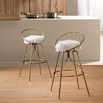 Amazon Com Alish Swivel Counter Height Bar Stools With Back Kitchen Bar Chair Stools Set Of 2 Gold With White Fur Cushion 30 Inch Kitchen Dining